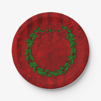 Embossed Holly Wreath Red Stripe Paper Plate