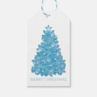 Embossed Look Blue Christmas Tree