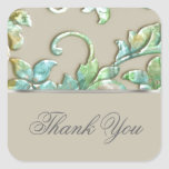 Embossed Look Damask Green Gold Turquoise Square Sticker