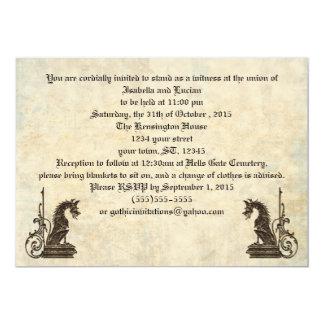 "Embossed Look Dragons Goth Wedding Invitations 5"" X 7"" Invitation Card"