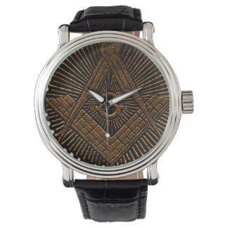 Embossed Masonic square and compass Wristwatches