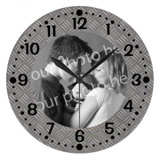 Embossed Metal Look Custom Photo Clock w/ Minutes