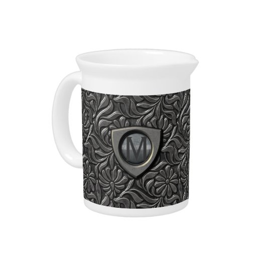 Embossed Metal Shield Monogram ID139 Pitcher