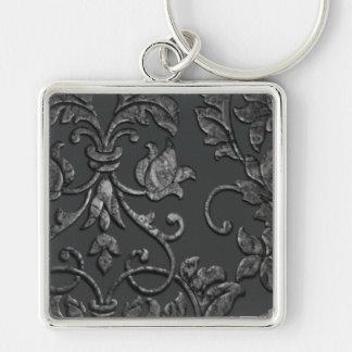 Embossed Metallic Damask, Pewter Silver-Colored Square Key Ring
