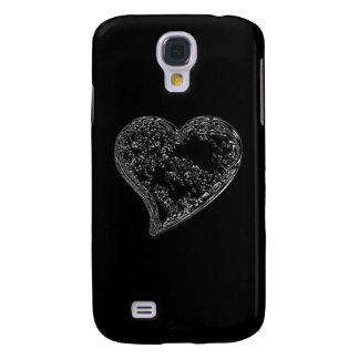 EMBOSSED SILVER HEARTS ON BLACK SAMSUNG GALAXY S4 CASE