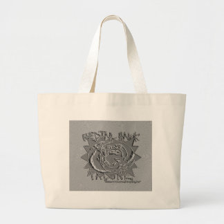 EMBOSSED SILVER REDTAIL HAWK TALONZ THEME LARGE TOTE BAG