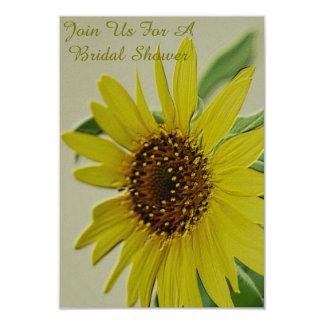 Embossed Sunflower Bridal Shower Invitations