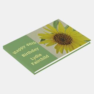 Embossed Sunflower Happy Birthday Guestbook Custom