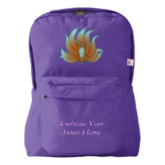 Embrace Your Inner Flame - Blue Fire Kitsune Backpack