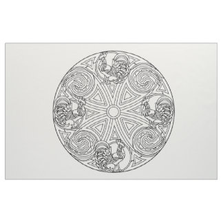 Embroider Your Own Roosters Mandala Fabric