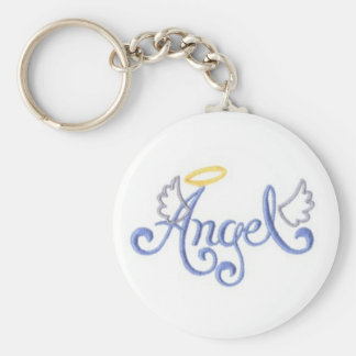 Embroidered Angel Basic Round Button Key Ring