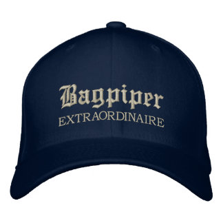 Embroidered Bagpiper Extraordinaire Music Cap Embroidered Cap