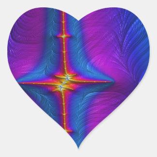 Embroidered Baton Fractal Heart Sticker