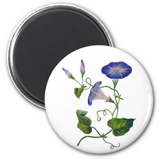 Embroidered Blue Morning Glories Refrigerator Magnet
