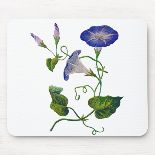 Embroidered Blue Morning Glories Mouse Pad