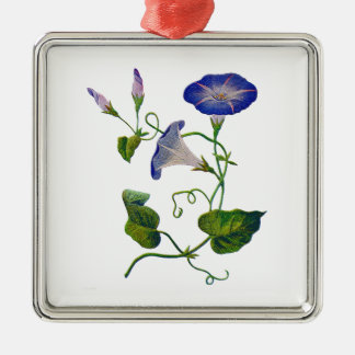 Embroidered Blue Morning Glories Silver-Colored Square Decoration