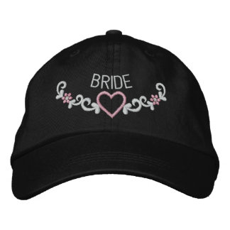 EMBROIDERED BRIDE & HEART CREST EMBROIDERED CAP
