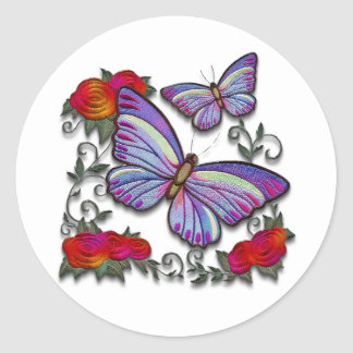 embroidered butterflies classic round sticker