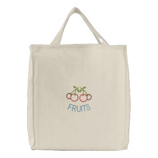 Embroidered Cherries Reusable Canvas Grocery Sack Bags