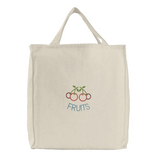 Embroidered Cherries Reusable Canvas Grocery Sack Embroidered Bag