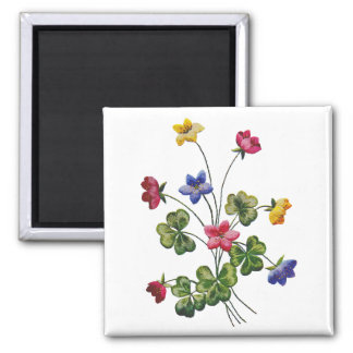 Embroidered Colorful Wood Sorrel Magnets