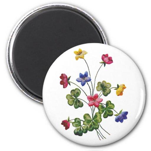 Embroidered Colorful Wood Sorrel Magnet