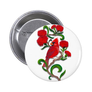 embroidered exotic bird 6 cm round badge