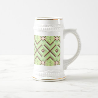 Embroidered Fabric Inlaid. Elegant Apple Green Mugs