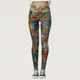Embroidered Fiery Chinese Dragon Leggings
