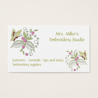 Embroidered Flowers Butterfly Embroidery Pattern Business Card