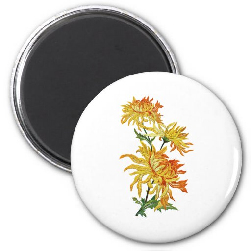 Embroidered Golden Chinese Chrysanthemum Magnet