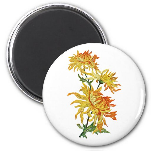 Embroidered Golden Chinese Chrysanthemum Refrigerator Magnets