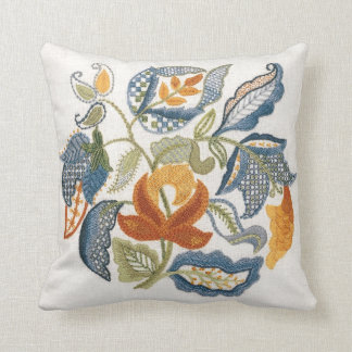 Embroidered Jacobean Leaves Cushion