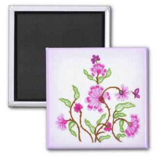 Embroidered Lavender Square Magnet