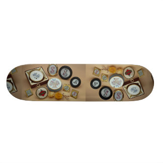 Embroidered miniatures in frames skate board decks