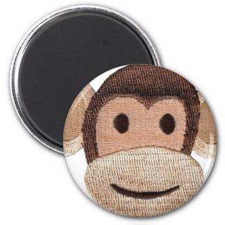 Embroidered Monkey Head 6 Cm Round Magnet