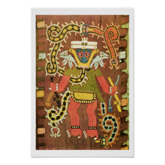 Embroidered mythological figure, Paracas Necropoli Poster