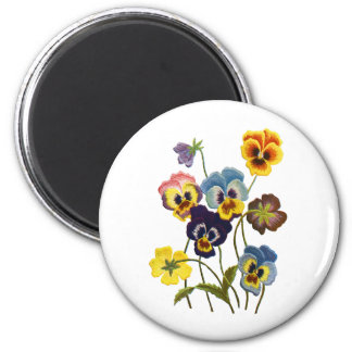 Embroidered Parade of Pansies 6 Cm Round Magnet