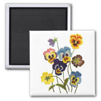 Embroidered Parade of Pansies Square Magnet