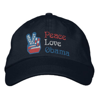 Embroidered Peace, Love, Obama Embroidered Hat