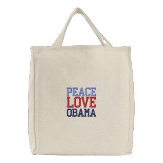 Embroidered Peace Love Obama Tote Bag