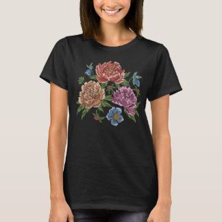 Embroidered Peony Flowers T-Shirt