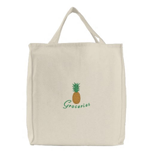 Embroidered Pineapple on Canvas Shopping Bag