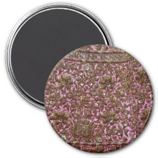 Embroidered Pink Fabric New Delhi India 7.5 Cm Round Magnet