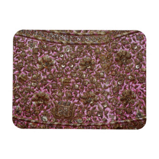 Embroidered Pink Fabric New Delhi India Rectangle Magnet