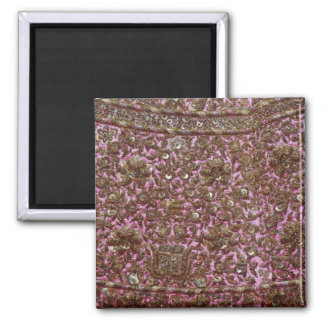 Embroidered Pink Fabric New Delhi India Square Magnet