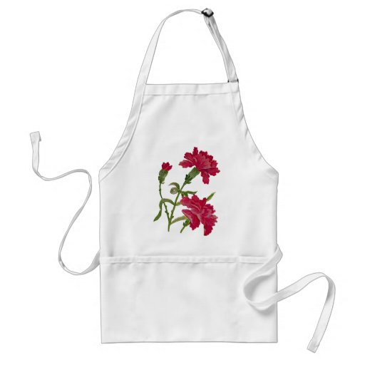 Embroidered Red Carnations Aprons