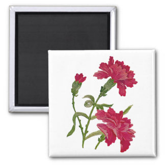 Embroidered Red Carnations Magnet