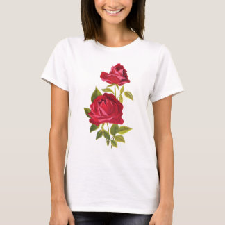 Embroidered Red Roses T-Shirt
