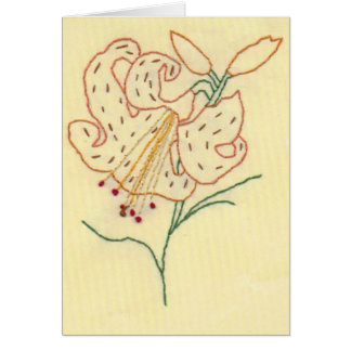 Embroidered Tiger Lily Flower Greeting Card